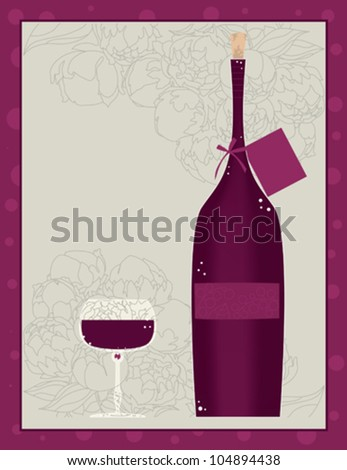 Bottle of Red Wine and Glass of Wine