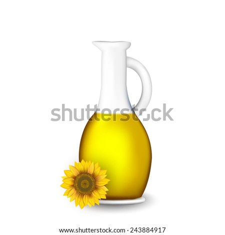 bottle of sunflower oil with