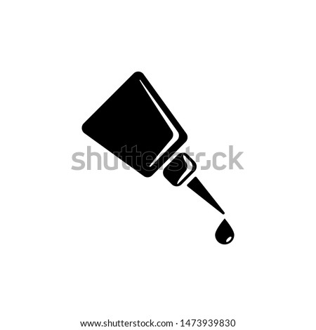 Bottle of Super Glue with Drop, Adhesive. Flat Vector Icon illustration. Simple black symbol on white background. Super Glue Bottle, Adhesive Drop sign design template for web and mobile UI element