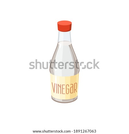 Bottle of vinegar. Vector illustration cartoon flat icon isolated on white. Foto stock ©