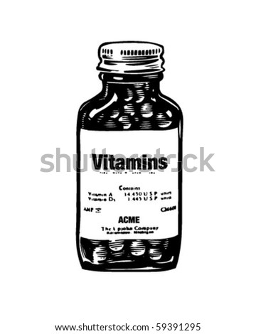 Bottle Of Vitamins - Retro Clip Art