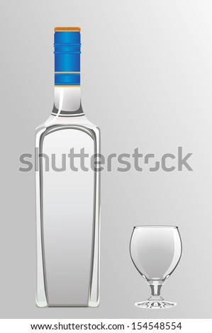 bottle of vodka and shot glass