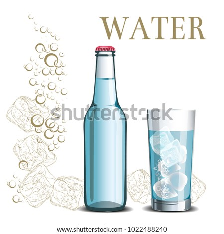 bottle of water and a glass on