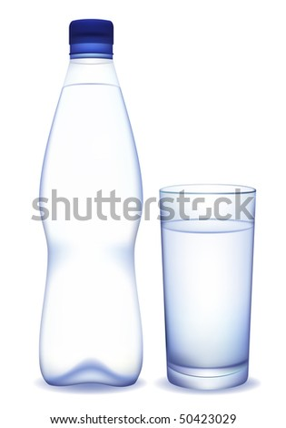 Bottle of water and glass. Vector illustration.