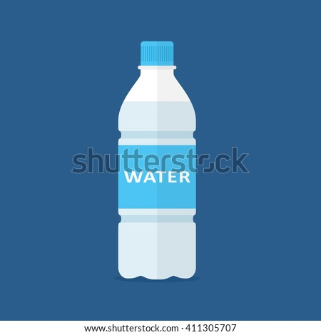 bottle of water icon in flat