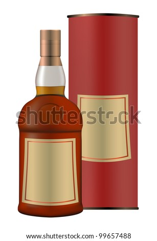 bottle of whiskey and a packing box vector