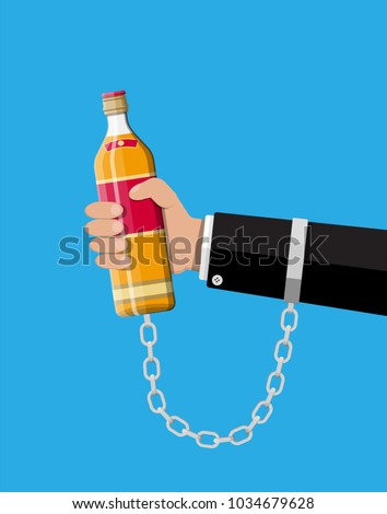 Bottle of whiskey in hand on chain. Alcoholic chained to the bottle of alcohol. Concept of alcohol addicted. Vector illustration in flat style