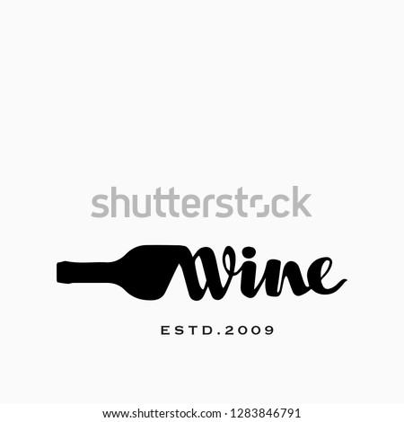 Bottle of Wine and Corkscrew Hand drawn Vector Logo Concept for Wine Shop Сток-фото ©