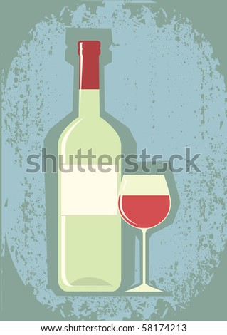 Bottle of wine and wineglass.Vector grunge symbol.