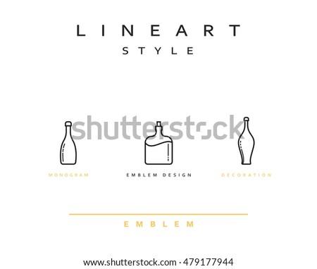 Bottle of wine, cognac, set vector icon style line art. Monogram emblem element design style linear. Design element