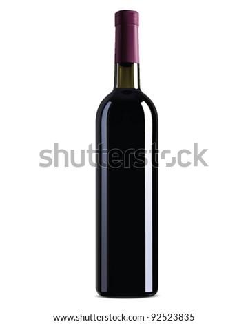 Bottle of wine on white background. Vector - stock vector