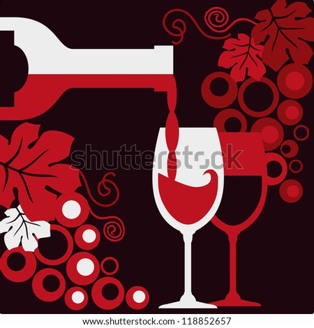 Bottle of wine, two wineglasses and grapes.