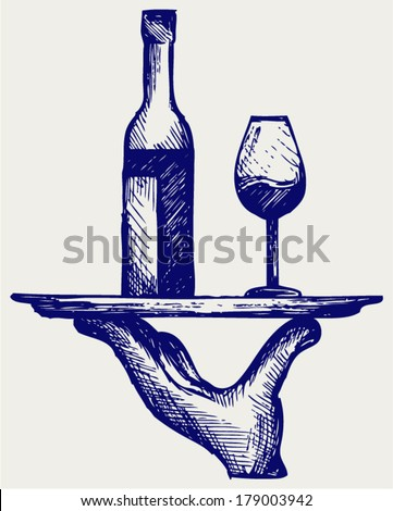 Bottle of wine with a glass on a tray. Doodle style