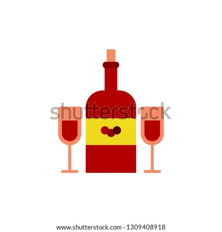 Bottle of wine with glasses icon. Element of Valentine day icon for mobile concept and web apps. Detailed Bottle of wine with glasses icon can be used for web and mobile
