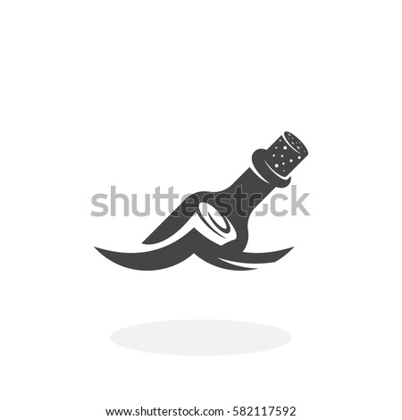 Bottle on the wave icon isolated on white background. Message in a bottle floating in the water vector logo. Flat design style. Modern vector pictogram for web graphics - stock vector