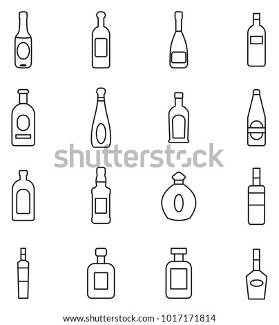Bottle or Glass Bottle or Liquor Bottle Icons Thin Line Vector Illustration Set