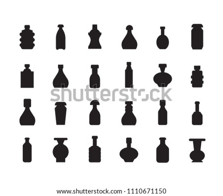 bottle package icons set
