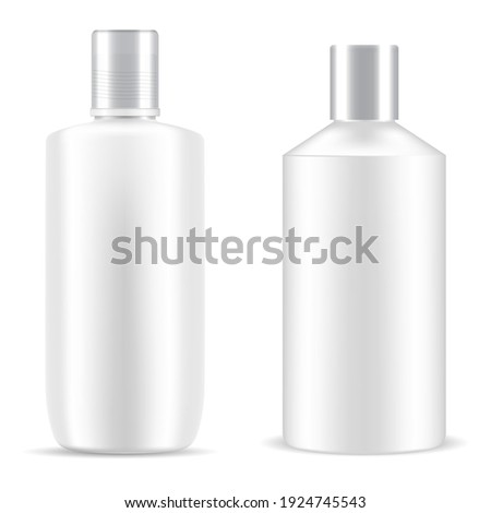 Bottle shampoo cosmetic. White package plastic mockup. Cosmetic product cylinder container, bath gel realistic tubular design. Beauty container vector object, skin care packing template collection Foto stock ©