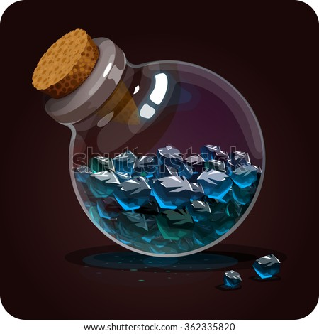 bottle with blue crystals.Game icon of magic elixir. Vector design for app user interface. philosopher's stone, ingredient for defense potion