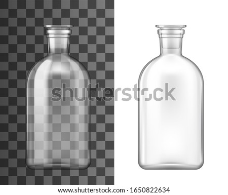 Bottle with glass stopper 3d mockups of laboratory glassware and chemistry science lab equipment vector design. Clear glass reagent jar, medical or pharmaceutical container realistic templates