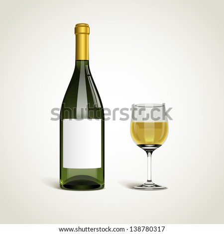bottle with white wine and