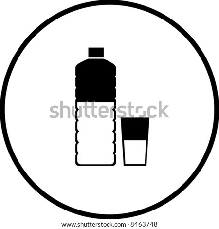 bottled water and glass symbol - stock vector