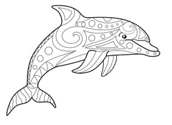 Bottlenose dolphin - antistress coloring book - vector linear picture for coloring. Sea animal - bottlenose dolphin - antistress for marine coloring book. Outline. Hand drawing.