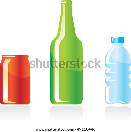 bottles and can vector illustration
