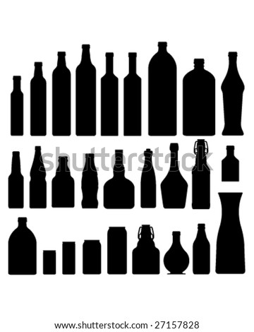 Bottles and jars set in vector silhouette