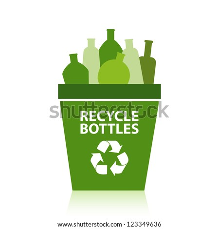 Bottles in a green recycling bin.