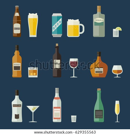 Bottles of alcoholic beverages with mugs and glasses.