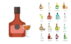 bottles of alcoholic drinks with glasses flar icon set with absinthe, Martini bottle