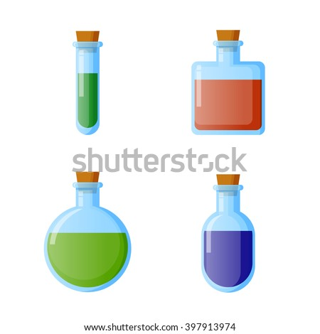 bottles of potion vector
