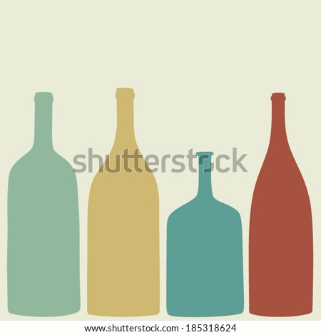 Bottles of wine, whiskey, tequila, vodka.