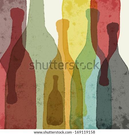 bottles of wine  whiskey