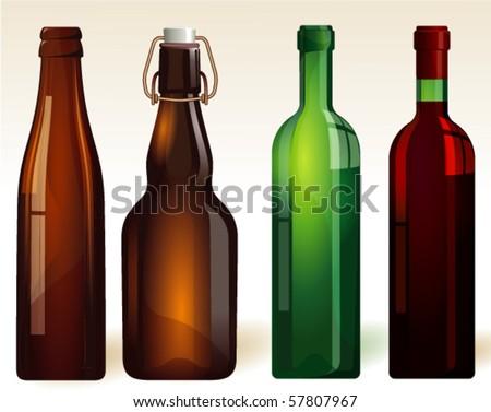 Bottles. Vector. - stock vector