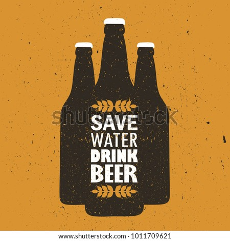 Bottles with craft beer and english text, hand drawn illustration. Colorful backdrop vector. Save water drink beer, poster design. Decorative wallpaper, good for printing. Background with beverage