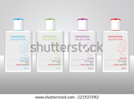 Bottles with sample labels for shower gel or shampoo