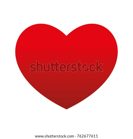 Bottom Gradient Big Red Heart Round Valentine's day Vector