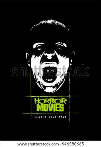Bottom-lit face, screaming face, horror movie style vector logo.