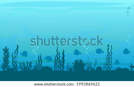 Bottom of reservoir with fish. Silhouette. Blue water. Sea ocean. Underwater landscape with animals, plants, algae and corals. Illustration in cartoon style. Flat design. Vector art