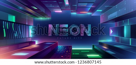 Bottom up view of the futuristic night neon city. Retro wave and cyberpunk style illustration. Cityscape on a dark background with bright and glowing neon purple and blue lights.