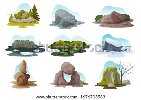 boulder and rock stone isolated