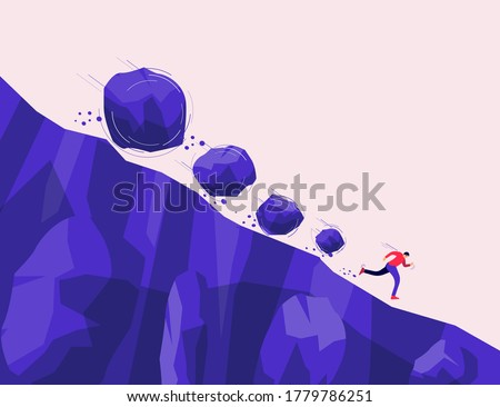 Boulder rocks stone crisis rolling fall down on a run away man from steep mountain hill slope. Covid, financial recession, climate change, biodiversity collapse. Vector concept danger, risk, problem.