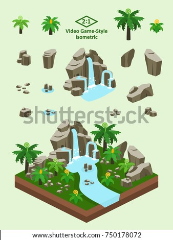 Boulders, rocks, and waterfall set for video game-type isometric prehistoric ferns and cycads forest scene.