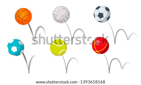 Bounce Balls Sport Playing Equipment Set Vector. Basketball And Soccer Or Football, Volleyball And Tennis Game Accessories Bounce With Trajectory Grey Line. Colorful Flat Cartoon Illustration Foto d'archivio ©
