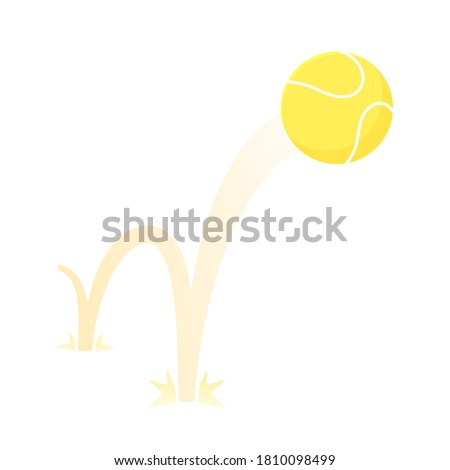 Bouncing big tennis game ball flat style design vector illustration icon sign isolated on white background. Inflatable round tennis game symbol jumps on the ground. Foto d'archivio ©