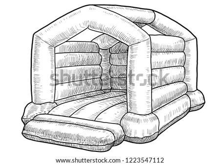 Bouncy castle illustration, drawing, engraving, ink, line art, vector