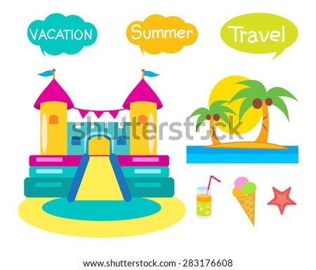 Bouncy Castle Set Cartoon Illustrations On A White Background.Bouncy Castle For Kids. Vacation And Tourism Icons. Jumping castle vector image. Summer icons set.