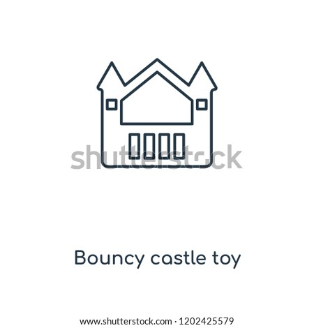 Bouncy castle toy concept line icon. Linear Bouncy castle toy concept outline symbol design. This simple element illustration can be used for web and mobile UI/UX.